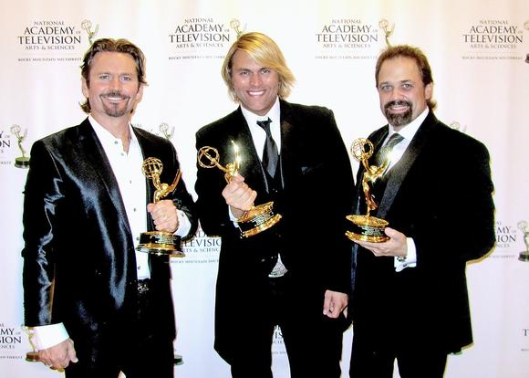 "The Texas Tenors, JC Fisher, Marcus Collins and John Hagen, shown with the Emmys they won for their recent PBS Special, will be performing holiday concert ""Deep in the Heart of Christmas"" at the Ambassador Auditorium in Pasadena on Sunday, Dec. 21 at 8 p.m. The concert is a fundraiser for the Community Scholarship Foundation of La Canada Flintridge. (Courtesy of Patrick Landis / November 22, 2014)"